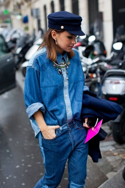street style total denim look